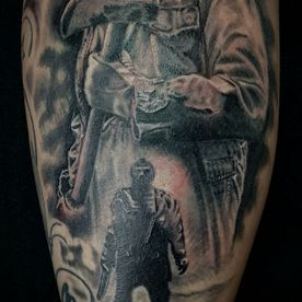 BLACK AND GREY, JASON FRIDAY THE 13TH,TATTOO,TATOEAGE