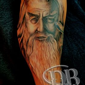 PORTRET,PORTRAIT,GANDALF,BLACK AND GREY,REALISTISCH,REALISTIC,TATTOO,TATOEAGE