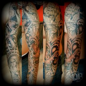 TATTOO,TATOEAGE,BLACK AND GREY,RELIGIEUS,RELIGIOUS,SLEEVE