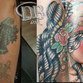 DB-INK,TATTOO,KLEUR,COLOUR,COVER UP,OLD SCHOOL,OLD SKOOL,MUERTE,MUERTA,