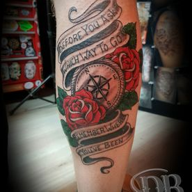 TATTOO,TATOEAGE,OLS SCHOOL.COLOUR,KOMPAS,BANNER,ROZEN,ROSES,COMPASS