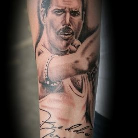 TATTOO,PORTRET,REALISTIC,REALISTISCH,BLACK AND GREY DB-INK,FREDDIE MERCURY