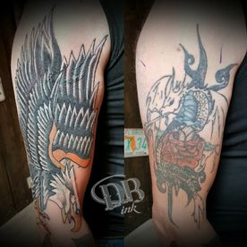TATTOO,TATOEAGE,COVER UP,COLOUR,OLD SCHOOL,ADELAAR,EAGLE