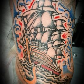 TATTOO,TATOEAGE,OLS SCHOOL,COLOUR,SCHIP,SHIP
